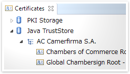 Certificates view