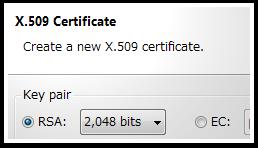 X.509 Certificate wizard